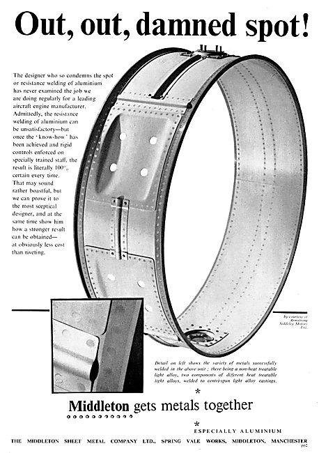 MIddlteon Sheet Metal . Aircraft Component Manufacturers