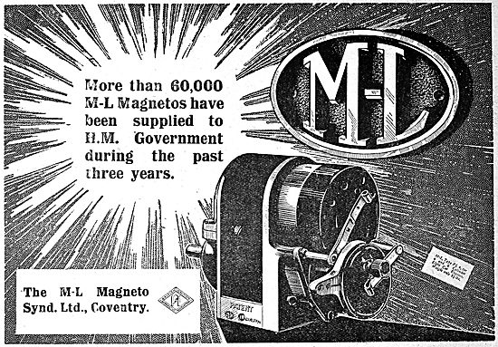 The M-L Magneto Syndicate. Coventry. Aero Engine Magnetos 1919