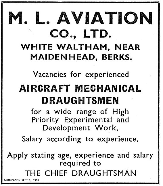 M.L. Aviation Have Vacancies For Aircraft Mechanical Draughtsmen
