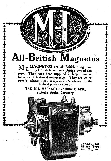 M-L All British Aero Engine Magnetos. Type ADS For Rotary Engines