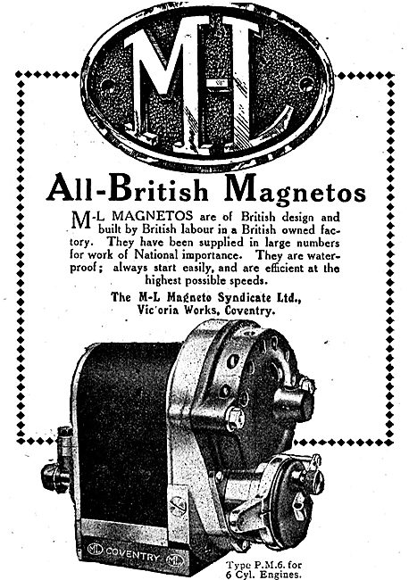 M-L All British Aero Engine Magnetos. Type PM6 For 6 Cyl Engines