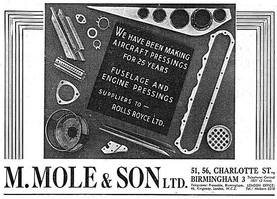 M.Mole & Son. 56 Charlotte St. Birmingham. Aircraft Presswork