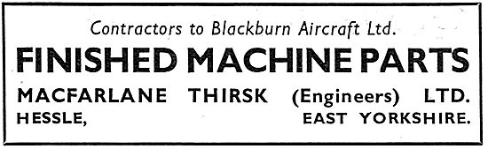 Macfarlane Thirsk. Machined Parts 1939