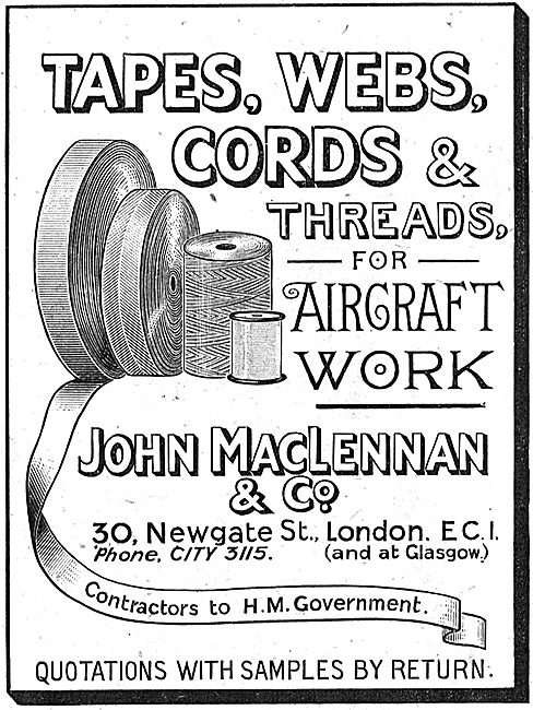 MacLennan Tapes, Webs & Cords For Aircraft Constructors