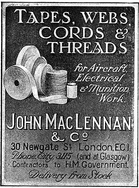 MacLennan Tapes, Webs & Cords & Threads For Aircraft Work