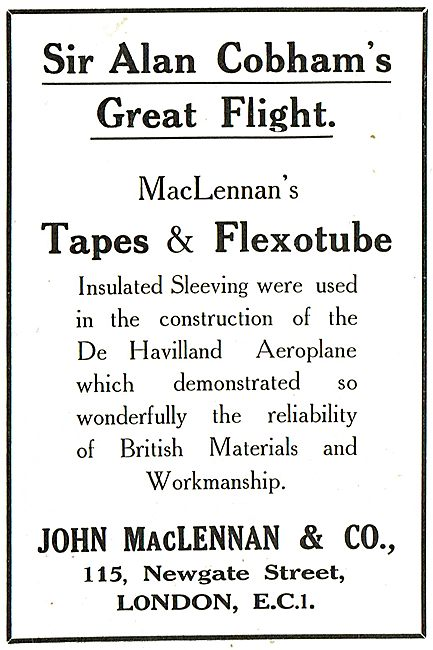 MacLennan's Tapes & Flexotube Used By Sir Alan Cobham