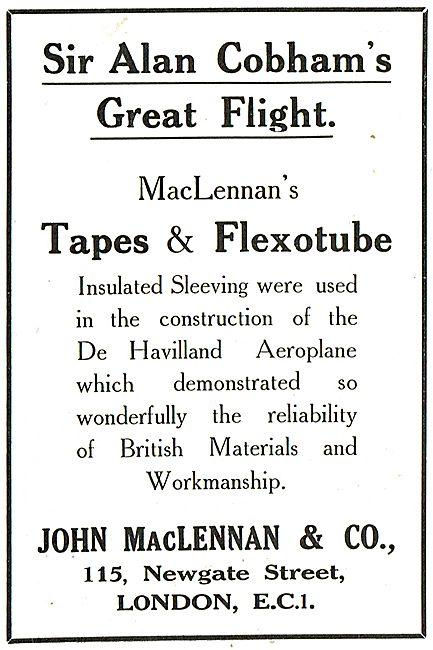 MacLennan's Tapes & Flexotube Used By Sir Alan Cobham