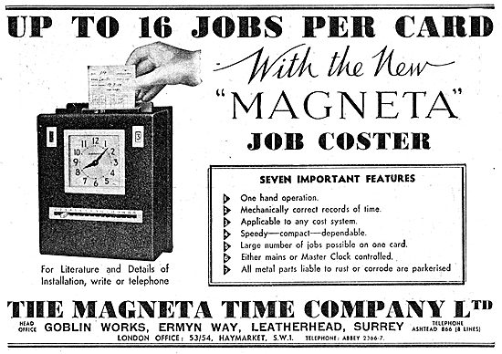 The Magenta Time Company. Factory Job Coster. 1942 Advert