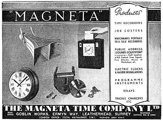 The Magenta Time Company. TIme Recorder, Job Coster & P.A.System