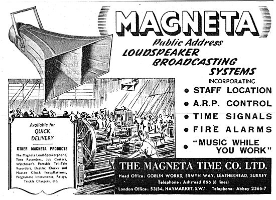 The Magenta Time Company. Works Broadcasting Equipment 1943
