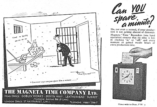 The Magenta Time Company Job Costing Time Recorders 1947