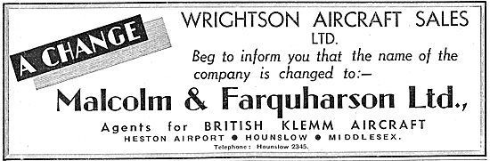 Malcolm Farquharson - Agents For British Klemm - Heston