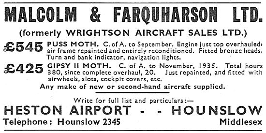 Malcolm & Farquarson  - Formerley Wrightson Aircraft Sales