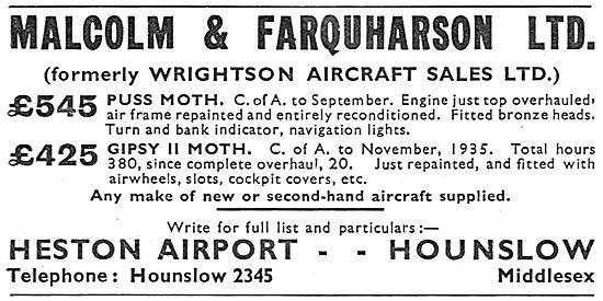 Malcolm & Farquarson  - Formerley Wrightson Aircraft Sales