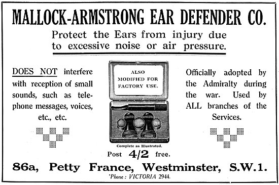 Mallock-Armstrong Ear Defenders 1925