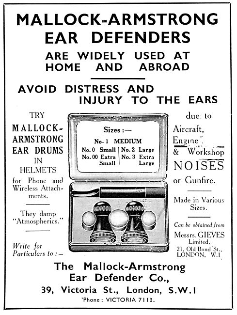 Mallock-Armstrong Ear Defenders 1931