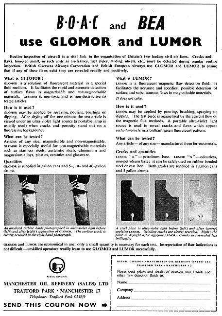BOAC & BEA Use Glomor & Lumor NDT Materials