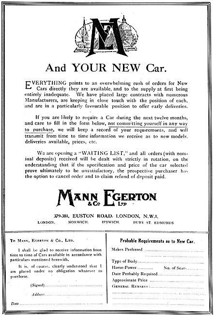 Mann Egerton Aeronautical & Motor Engineers. 1919 Advert