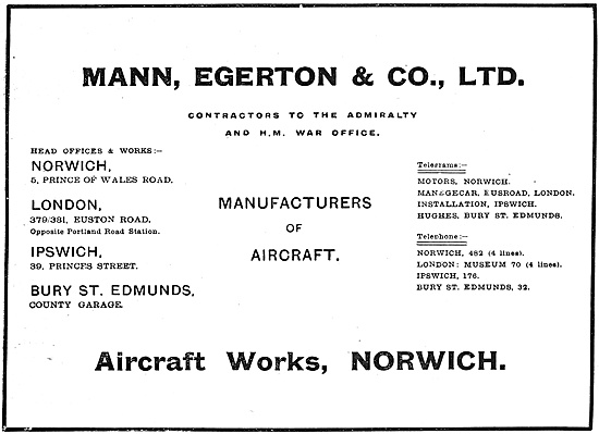 Mann Egerton Manufacturers Of Aircraft 1916