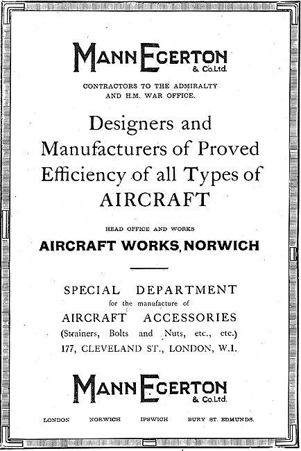 Mann Egerton Designers & Manufacturers Of  Aircraft