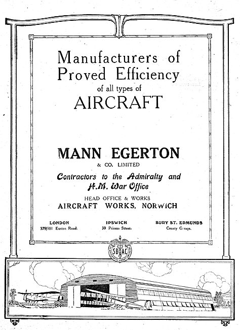 Mann Egerton Manufacturers Of All Types Of Aircraft