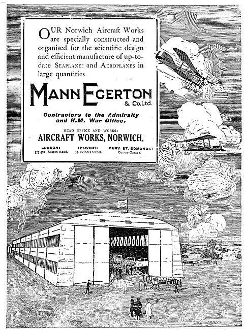 Mann Egerton Aircraft Manufacturers. Aircraft Works Norwich.