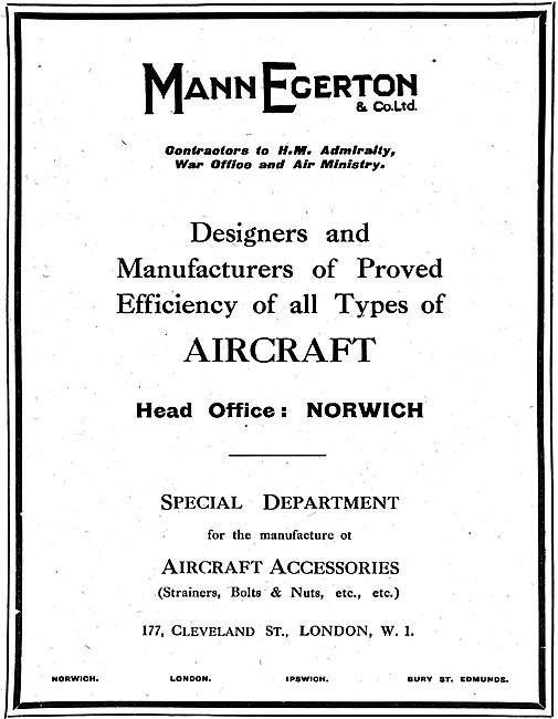 Mann Egerton Manufacturers Of Seaplanes & Aeroplanes