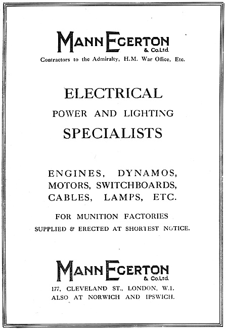 Mann Egerton Electrical Power & Lighting Specialists. 1918