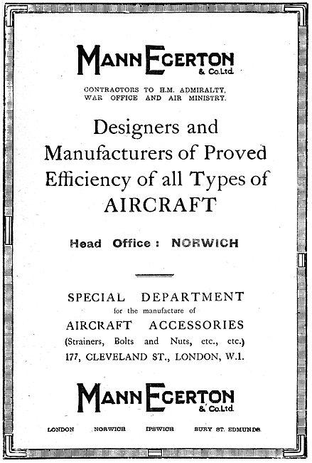 Mann Egerton. Aircraft Manufacturers. 1919