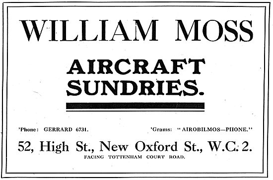 William Moss. High St. New Oxford St. Aircraft Sundries