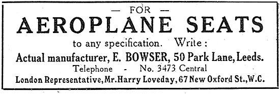 E.Bowser. Aeroplane Seats. 50 Park Lane, Leeds