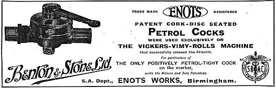 Aircraft Petrol Cocks From Benton & Stone Ltd. Enots Works, Bhm