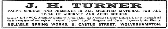 J.H.Turner, Castle St, Wolverhampton. Springs For Aircraft