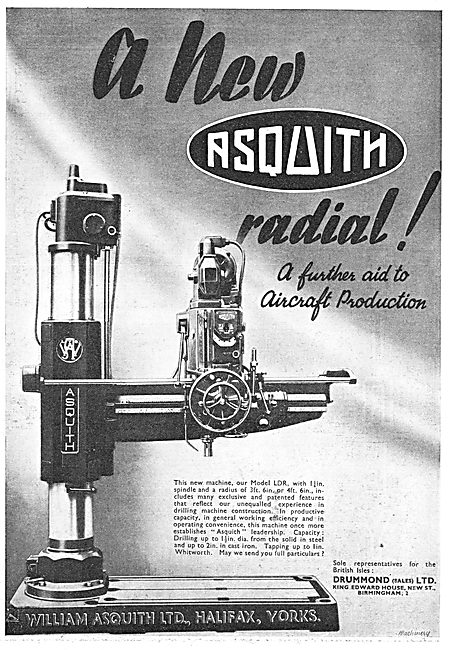 William Asquith MDL LDR Radial Drilling Machine