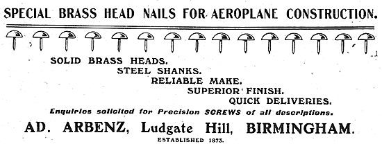 A.D.Arbenz. Ludgate Hill, Bham. Brass Head Nails For Aeroplanes