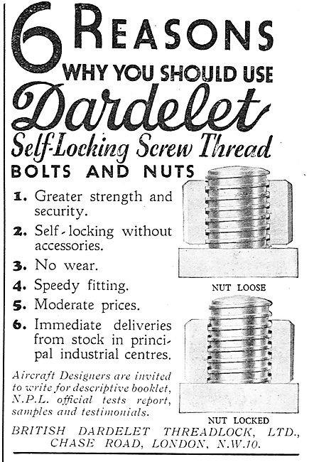 British Dardelet - Self-Locking Bolts & Nuts For Aircraft