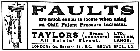 Taylors (Brass Founders) Ltd. Bolton. Okill Pressure Indicators