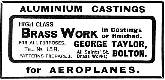 George Taylor All Saints Brass Works Bolton - Aeroplane Castings