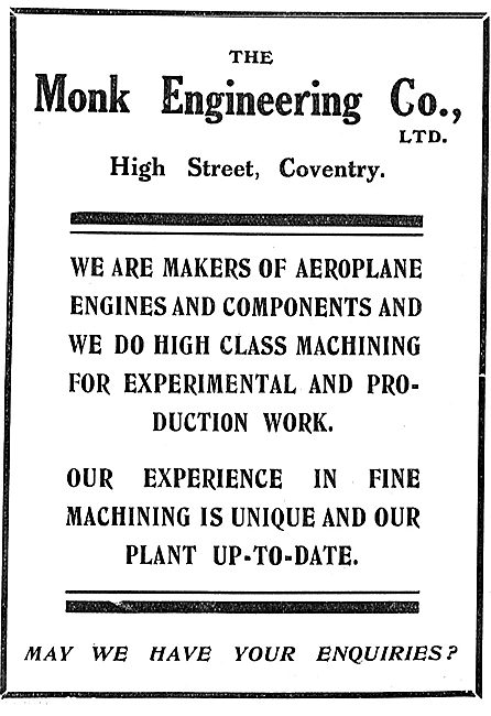 The Monk Engineering Co. High St Coventry. Aeroplane Engines