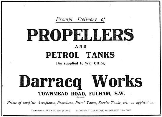 Darracq Works. Townmead Rd, Fulham. Propellers & Petrol Tanks
