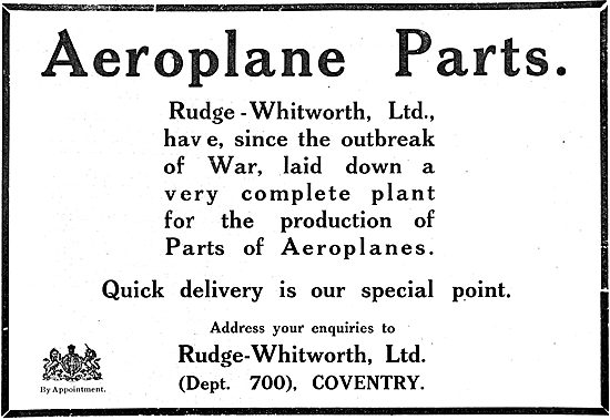 Rudge-Whitworth Ltd - Manufacturers Of Aircraft Parts