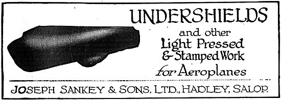 Joseph Sankey & Sons - Undershields & Presswork For Aeroplanes