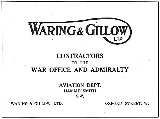 Waring & Gillow Ltd Aviation Department. Government Contractors