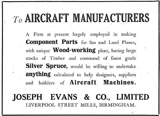 Joseph Evans & Co. Liverpool St Mills Birmingham. Woodworkers