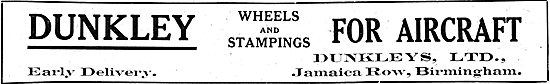 Dunkleys Ltd.. Jamaica Row, Bham. Aircraft Wheels & Stampings