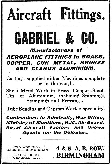 Gabriel & Co. A.B.Row. Bham - General Aircraft Engineering Work