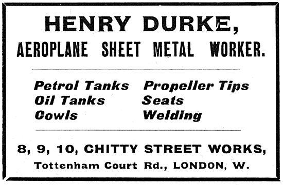 Henry Durke Ltd . 8,9,10 Chitty Street Works. Sheet Metal Worker