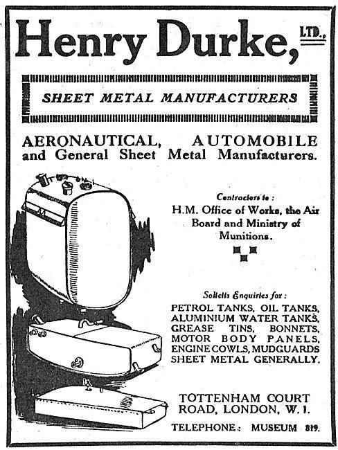 Henry Durke Aeronautical Sheet Metal Work
