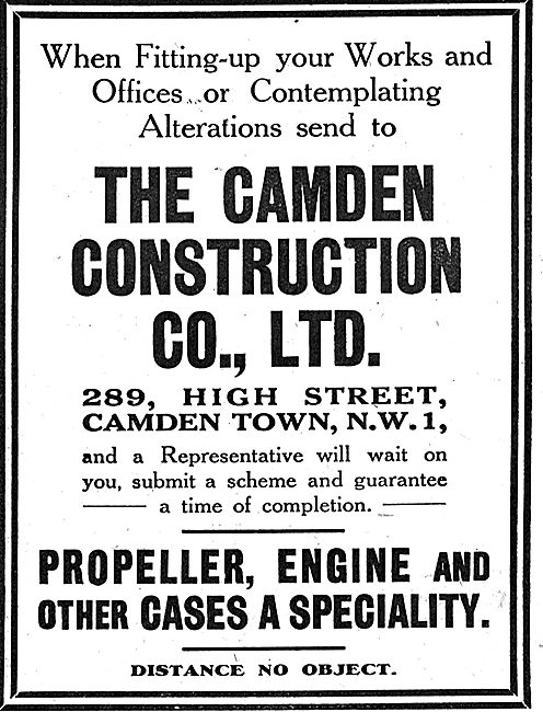 The Camden Construction Co: Aircraft Engine Cases & Propellers