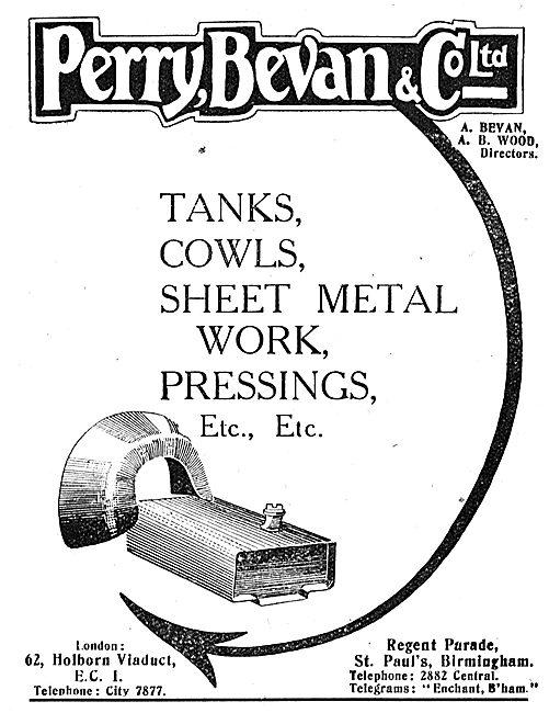 Perry, Bevan & Co: Aeroplane Tanks & Cowls